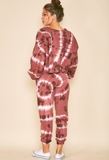 long sleeve tie dye crop sweatshirt
