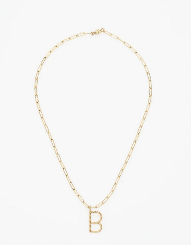 aspen square link initial necklace