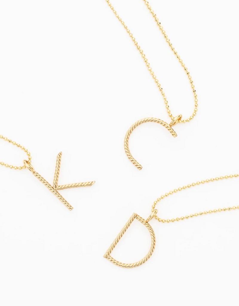 aspen long initial necklace