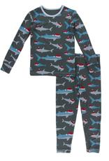 kickee pants pewter santa sharks long sleeve pajama set  FINAL SALE