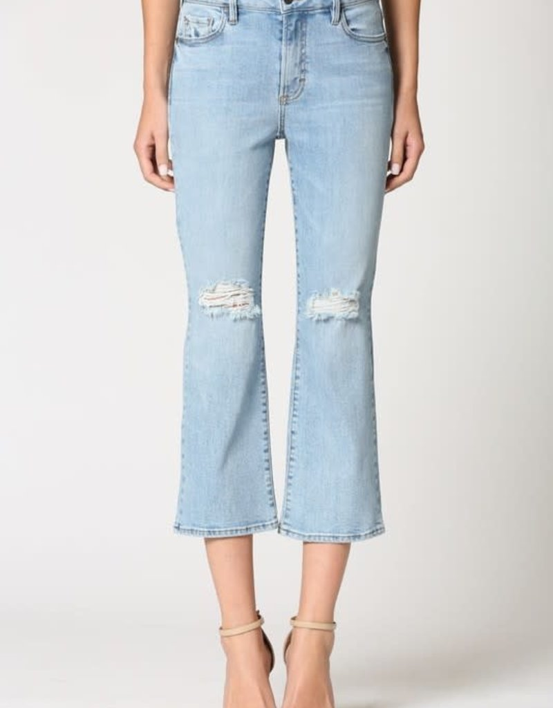 light wash distressed cropped flare jean