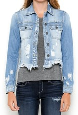 light wash frayed bottom fitted jacket