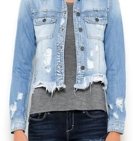 light wash frayed bottom fitted jacket