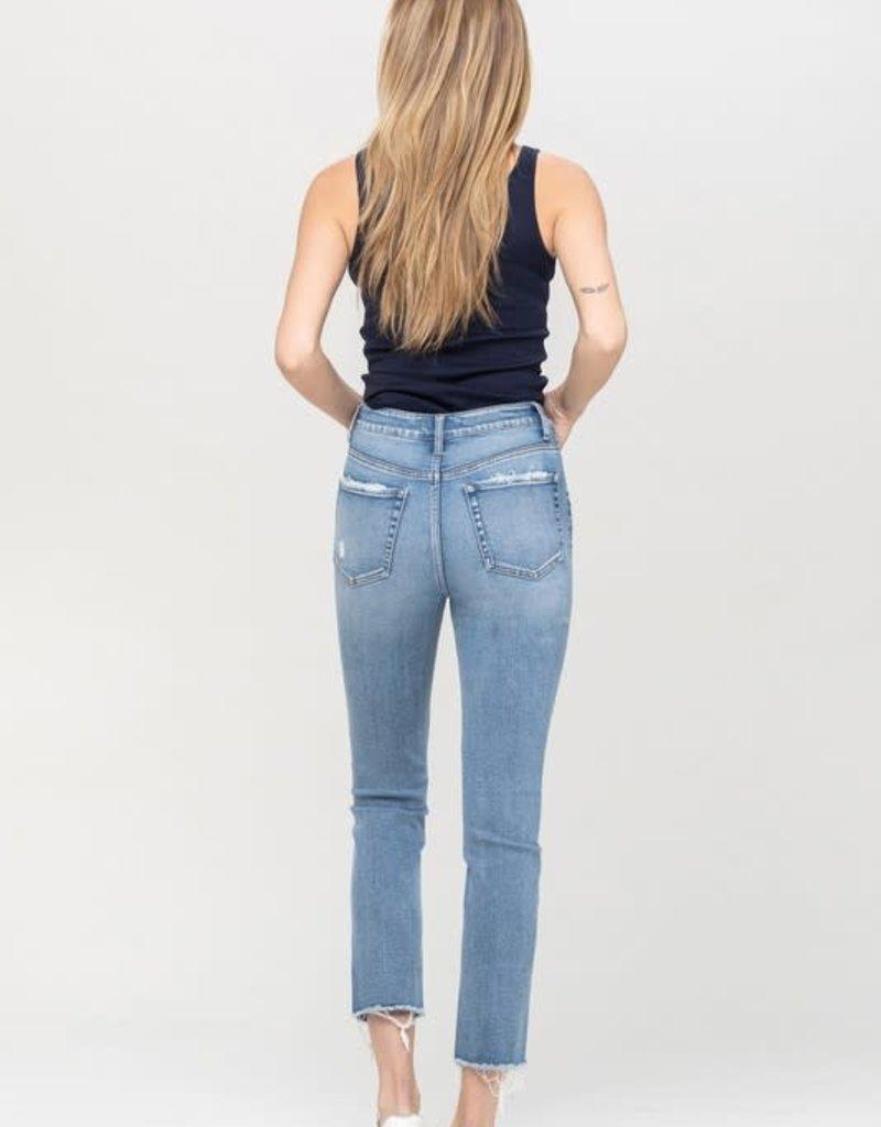 super high rise slim crop straight jean
