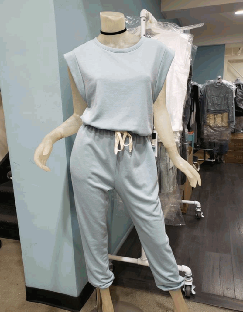 french terry muscle tank jumpsuit LC