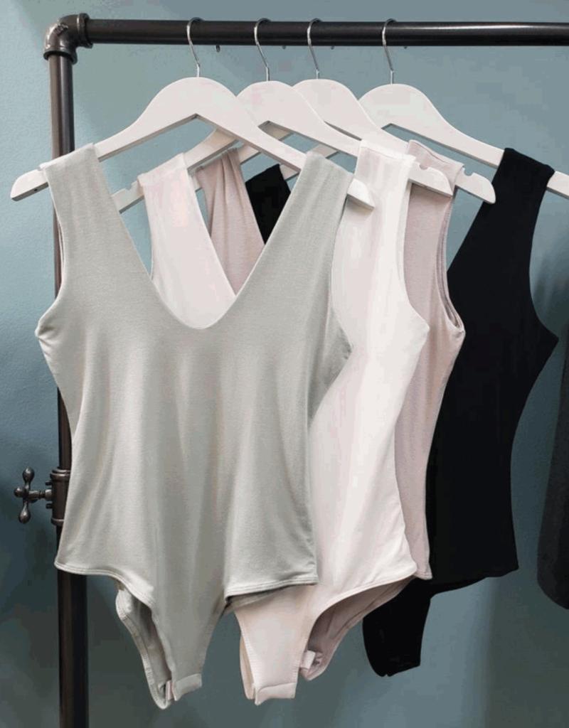 double v neck bodysuit