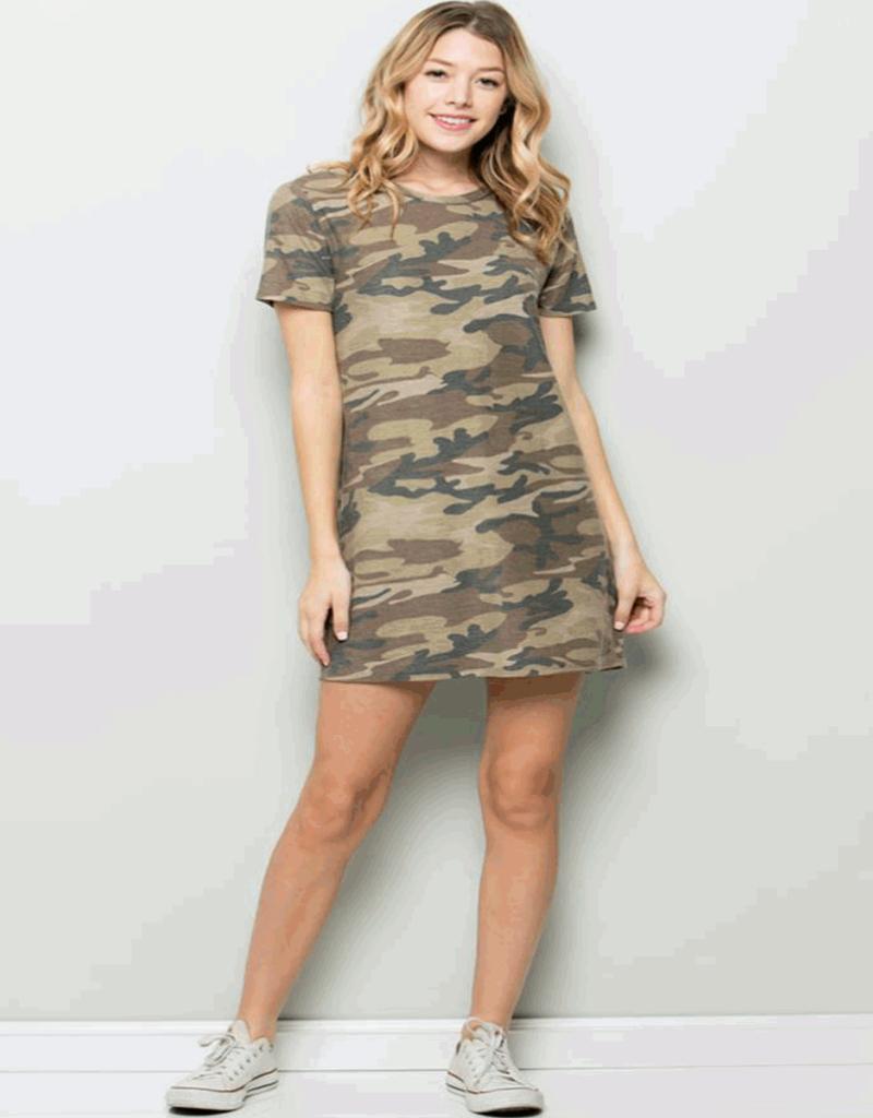 open back camo tshirt dress
