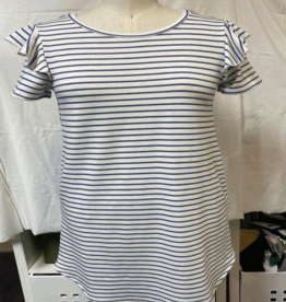 french terry striped ruffle sleeve dress