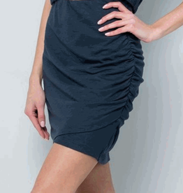 side ruched high waisted skirt