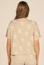 skull print burnout boxy crop tee