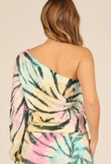 pastel burnout tie dye fleece one shoulder top