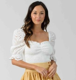 levy puff sleeve smocked top