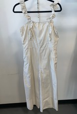 ruffle strap striped jumpsuit