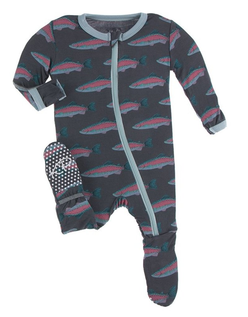 kickee pants stone rainbow trout footie with zipper