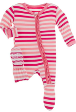 kickee pants forest fruit stripe muffin ruffle footie with zipper