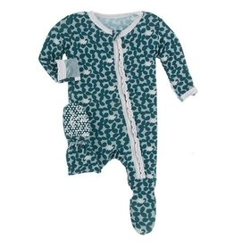 kickee pants jade running buffalo clover muffin ruffle footie with zipper