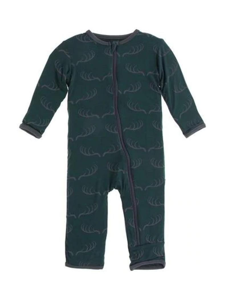 kickee pants pine deer rack coverall with zipper