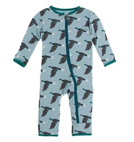 kickee pants jade mallard duck coverall with zipper