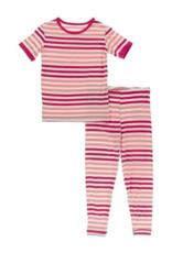 kickee pants forrest fruit stripe short sleeve pajama set