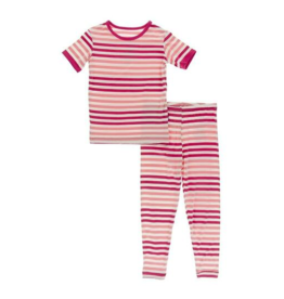 kickee pants forrest fruit stripe short sleeve pajama set