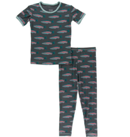 kickee pants stone rainbow trout short sleeve pajama set