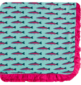 kickee pants glass rainbow trout ruffle toddler blanket