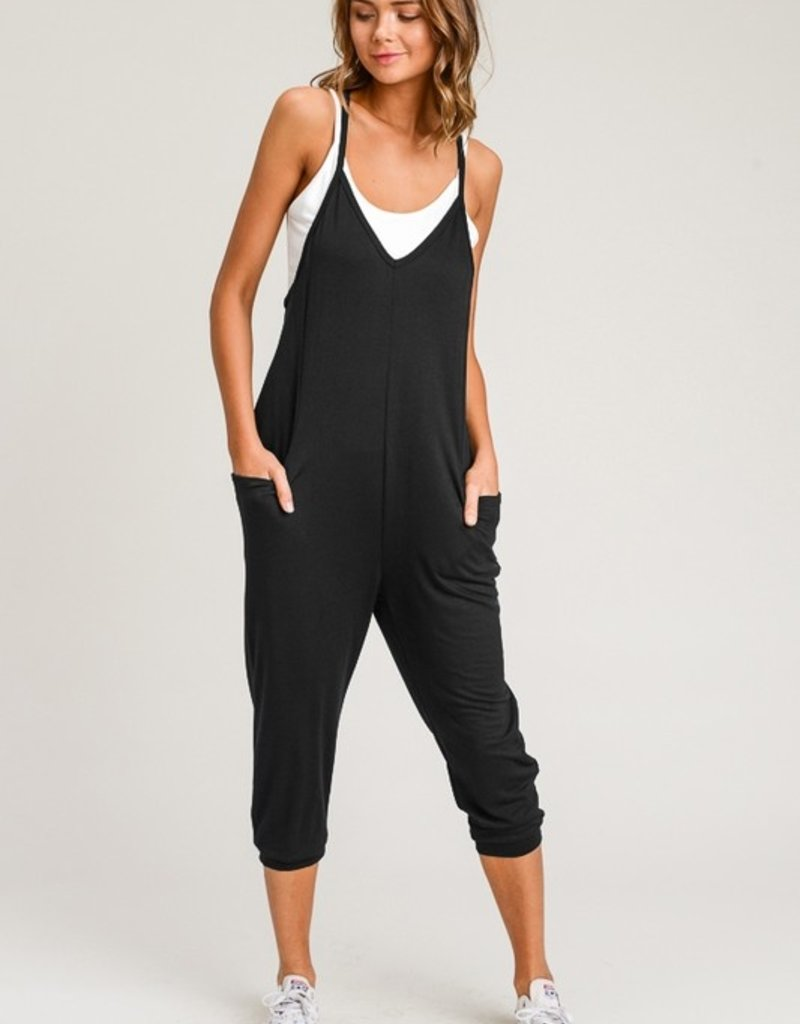 french terry v neck jumpsuit