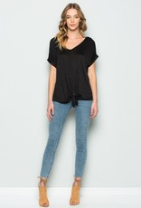 leia front tie double v neck top
