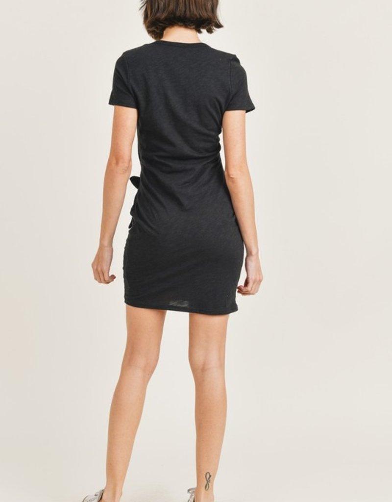 short sleeve side tie dress