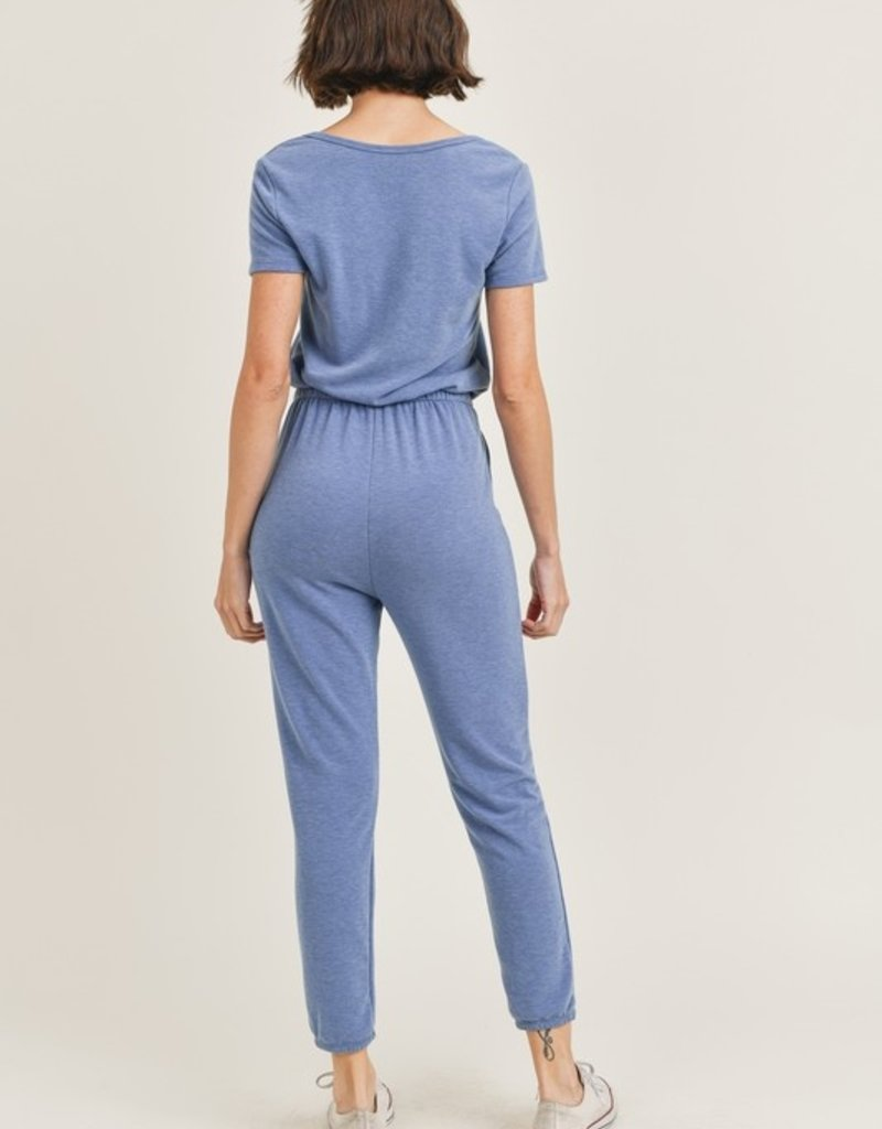 french terry front notch jumpsuit