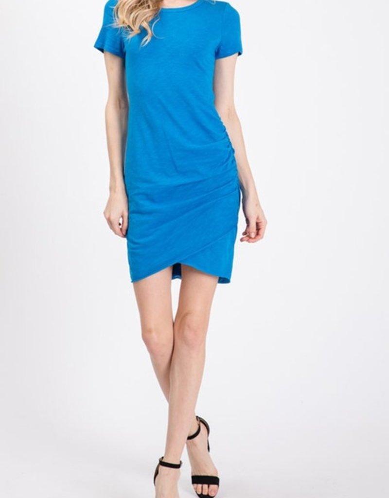 slub side ruched dress