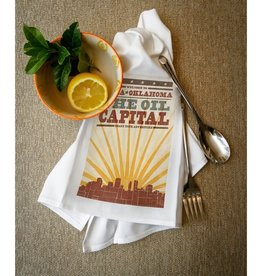 lantern press tulsa sunburst skyline towel