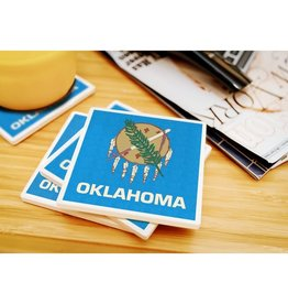 lantern press oklahoma state flag coaster