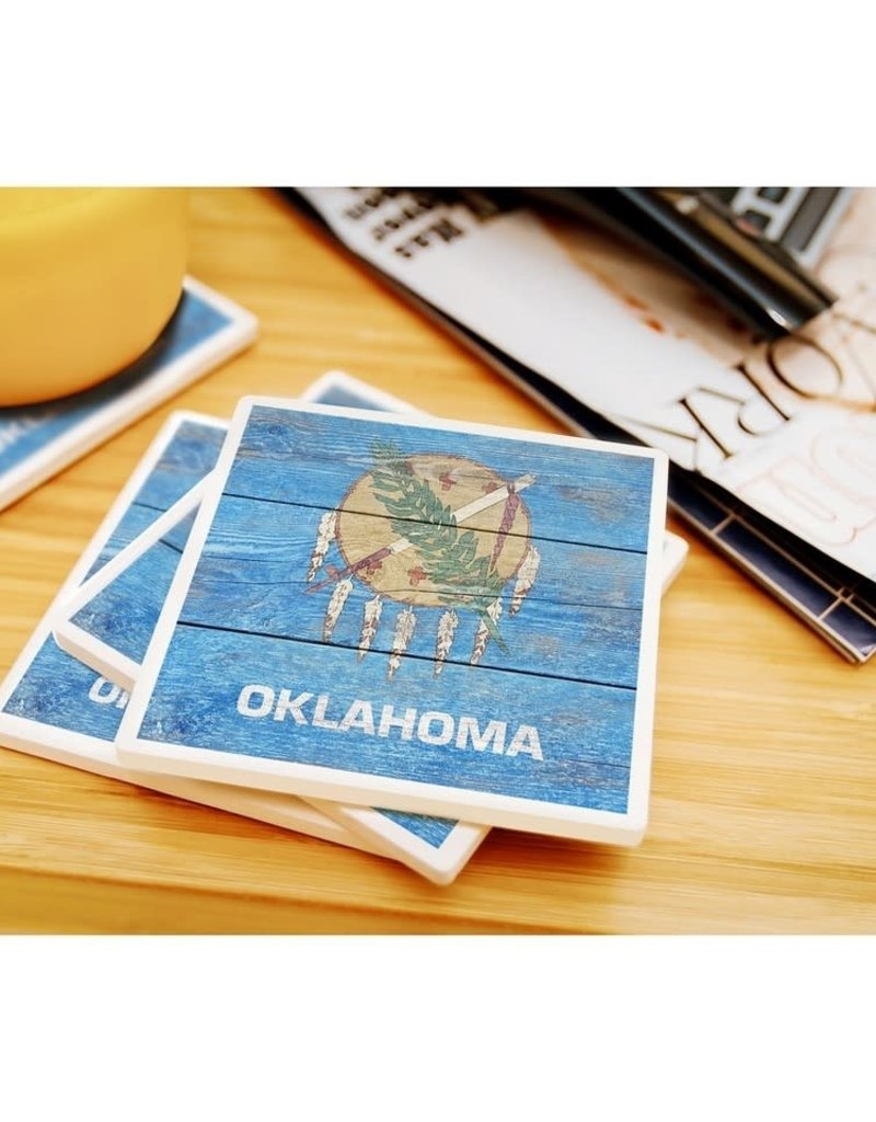 lantern press oklahoma rustic state flag coaster