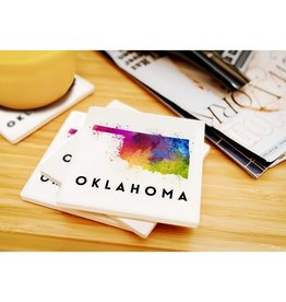 lantern press oklahoma watercolor coaster
