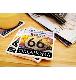 lantern press oklahoma 66 license plate coaster