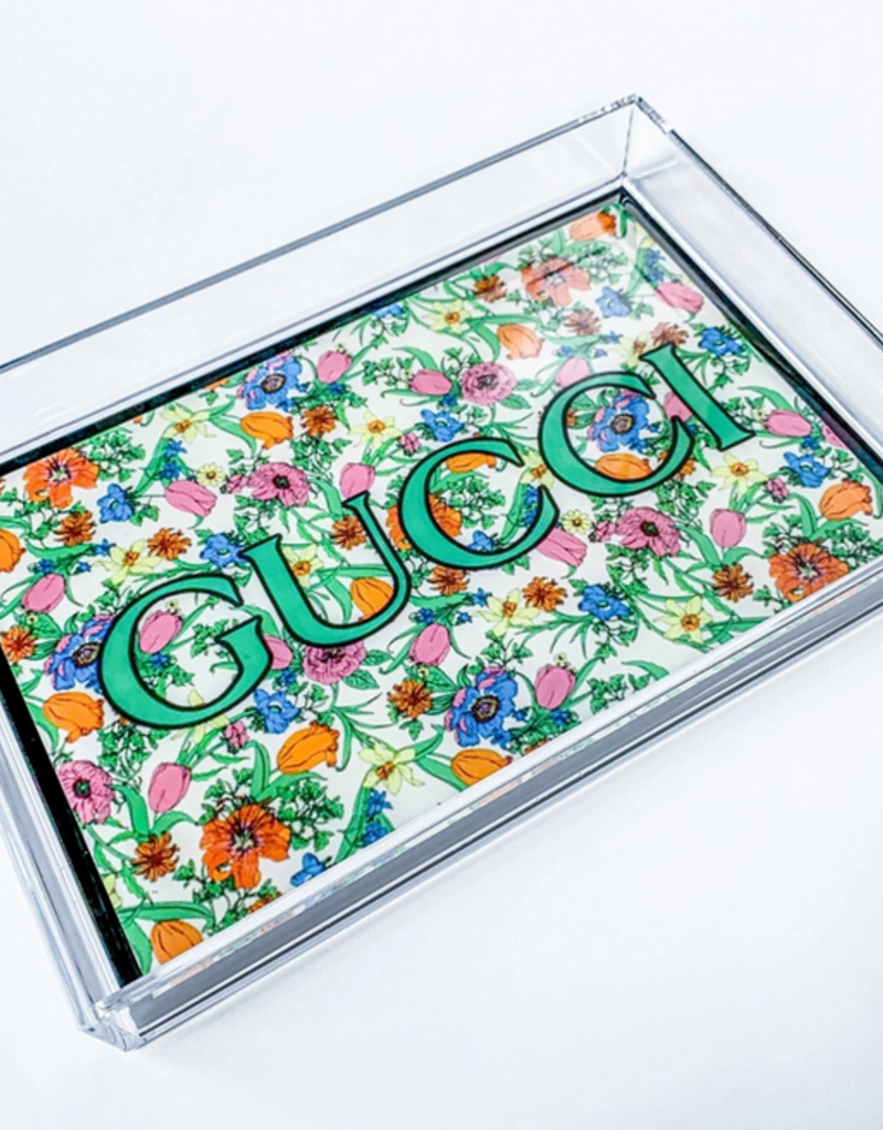 floral gucci acrylic tray - small