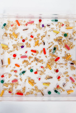 pills & gold acrylic tray - large