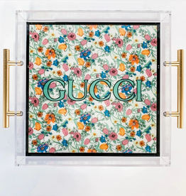 floral gucci acrylic tray - large