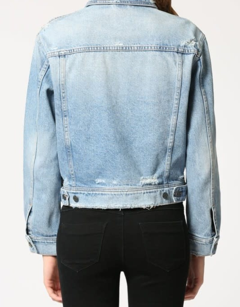 light wash fitted trucker jacket