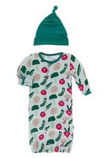 kickee pants illusion blue happy veggies gown converter & knot hat set