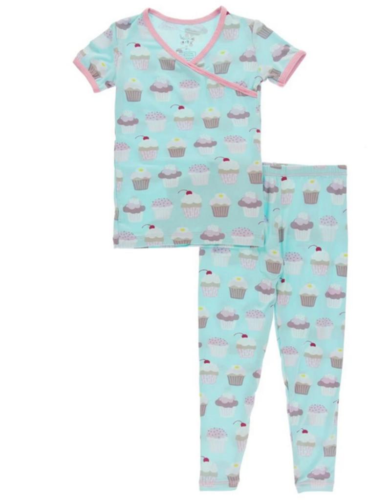 kickee pants summer sky cupcakes kimono short sleeve pajama set
