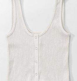 rib knit button snap cropped tank