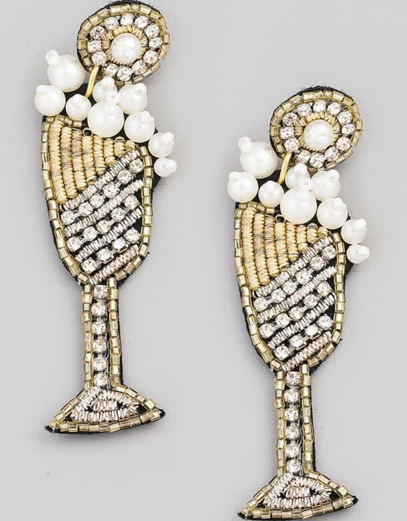 beaded wine glass earrings - white