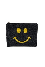 smiley beaded coin pouch
