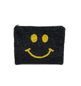 smiley beaded coin pouch - black