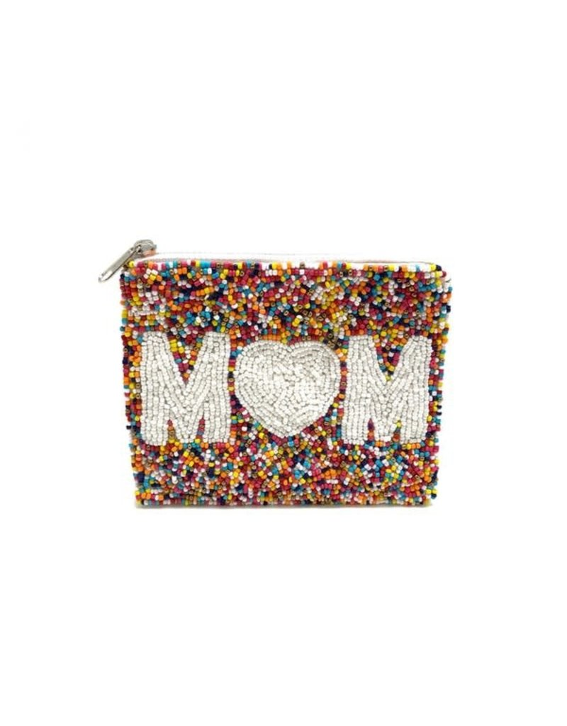 mom beaded coin pouch