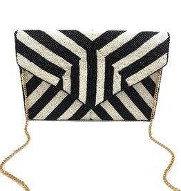 striped beaded clutch - black