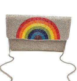 rainbow beaded clutch