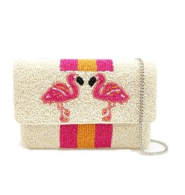 flamingo mini beaded clutch